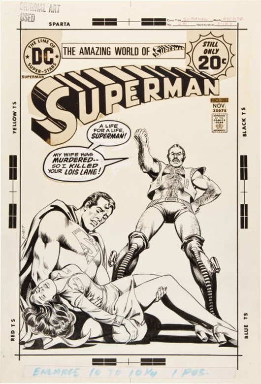 Nick Cardy 'Superman' #281 cover original art (DC, 1973). Image courtesy LiveAuctioneers.com Archive and Heritage Auctions.