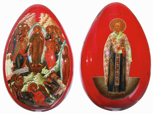 A large and exceptional Russian lacquer Easter egg is just one example of the large collection of Russian lacquerware to be offered at Jackson's sale of World Treasures. Jackson's image.
