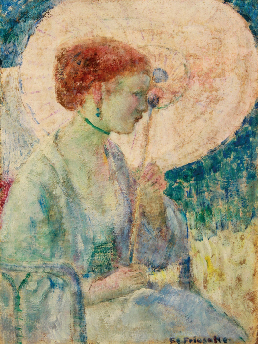 A fresh to the market painting by Frederick Carl Frieseke of 'The Pink Parasol' will be sold at Jackson' sale of World Treasures. Jackson's image.