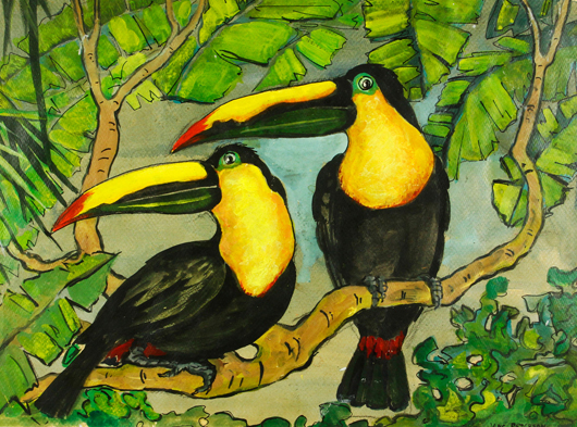 Jane Peterson, 'Two Toucans,' oil on canvas. Kaminski Auctions image.