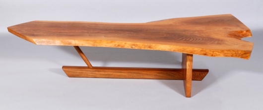 George Nakashima walnut coffee table. Kaminski Auctions image.