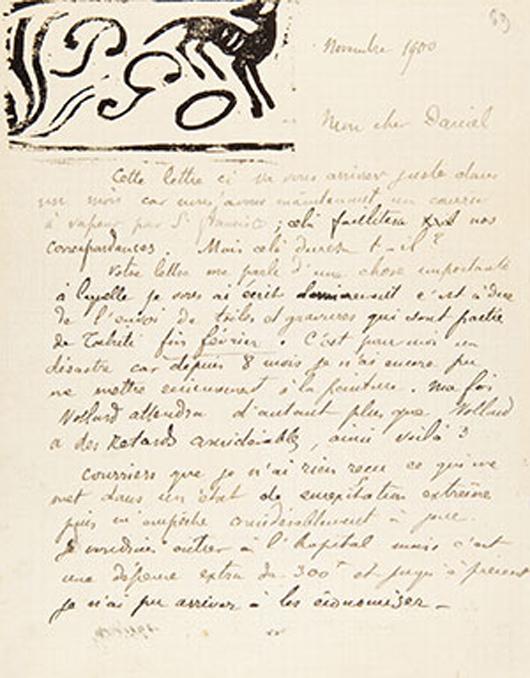 Ein Brief des Künstlers Paul Gaugin von 1900, Teil einer Auktion von Künstlerautogrammen der Galerie Kornfeld, Bern. Foto mit freundlicher Genehmigung von Galerie Kornfeld.