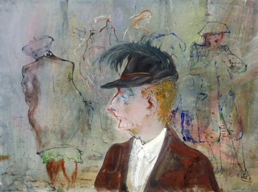 Josef Hegenbarths 'Menschen aud der Straße' von 1949 wird auf 4500 Euro (5873 Dollar) geschätzt, am 8. Juni bei Schmidt Kunstauktionen, Dresden, zum Verkauf. Foto mit freundlicher Genehmigung von Schmidt Kunstauktionen.