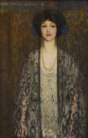 The most visited lot in the online catalog was this painting of a young woman behind black lace curtains by Boston Impressionist Philip Leslie Hale. It ultimately sold for $42,120 (est. $25,000-35,000). Case Antiques image.