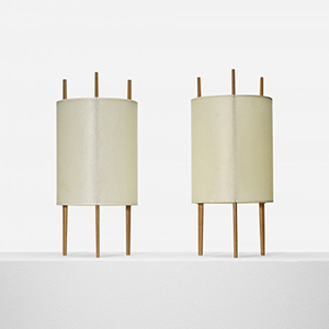 Pair of Isamu Noguchi table lamps Model 9, Knoll Associates, USA, 1947; cherry, fiberglass-reinforced polyvinyl, 7.25 dia x 16 h inches. Literature: Knoll: A Modernist Universe, Lutz, pg. 111. Entered in Wright's June 6, 2013 auction with a presale estimate of $5,000-$7,000. Image courtesy of LiveAuctioneers.com Archive and Wright.