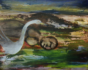 Sir Sidney Nolan's 'Leda and the Swan.' Estimate: $30,000-50,000. Grogan & Co. Fine Art Auctioneers and Appraisers image.