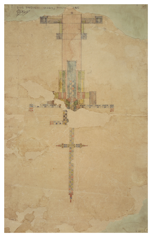 Frederick Bogk House, carpet design, 1916. Photographic Reproduction. Copyright The Frank Lloyd Wright Foundation Archives (The Museum of Modern Art - Avery Architectural & Fine Arts Library, Columbia University, New York. Image courtesy Rahr-West Art Museum.