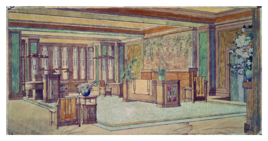 C. Thaxter Shaw House, living area, Montreal, Canada, 1906. Photographic reproduction. Copyright The Frank Lloyd Wright Foundation Archives (The Museum of Modern Art - Avery Architectural & Fine Arts Library, Columbia University, New York). Image courtesy Rahr-West Art Museum.