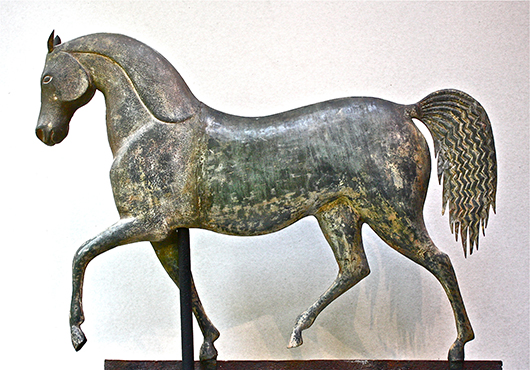 'Index Horse,' attributed to J. Howard & Co., Bridgewater, Mass., circa 1850, copper and zinc, 'skinned' surface with terraces of earlier paint. Private Collection. Image courtesy of Brandywine River Art Museum.