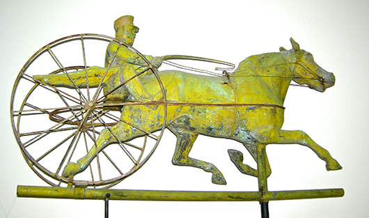 'St. Julian with Sulky,' probably made by J.W. Fiske Ironworks, circa 1880s, New York, N.Y., copper with cast zinc head. Private Collection. Image courtesy of Brandywine River Art Museum.