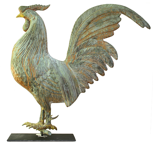 'Black Hamburg Rooster,' L.W. Cushing & Sons, Waltham, Mass., circa 1880s, copper, verdigris and paint mixture surface, Private Collection. Image courtesy of Brandywine River Art Museum.