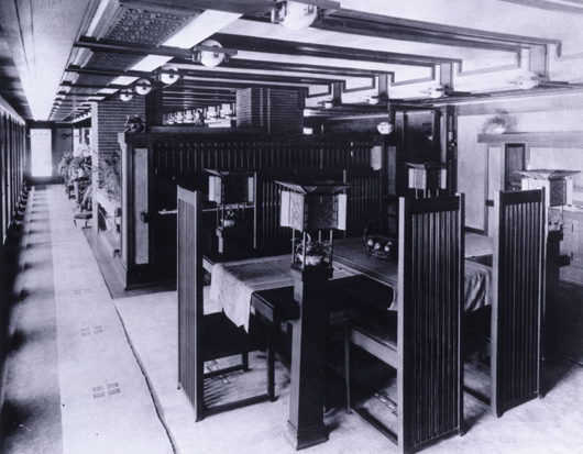 Frederick Robie House, dining area looking toward living area, Chicago, 1916. Photography copyright The Frank Lloyd Wright Foundation Archives (The Museum of Modern Art - Avery Architectural & Fine Arts Library, Columbia University, New York) Image courtesy Rahr-West Art Museum.