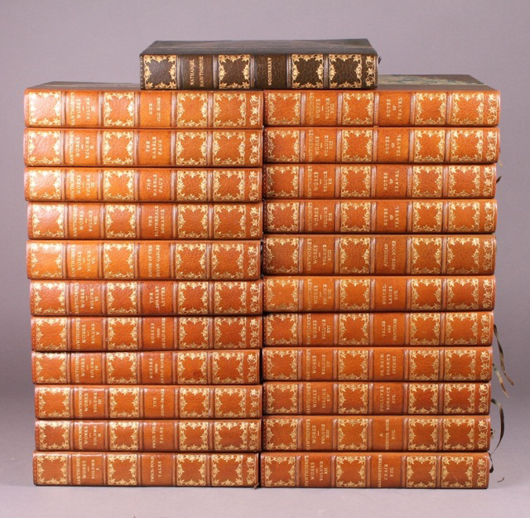 The Complete Writings of Nathaniel Hawthorne, 23 vols., 1900-1901 with 1902 biography by George E. Woodbury. Est. $1,500-$2,500. Waverly Rare Books image.