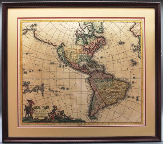 Justus Danckerts, Recentissima Novi Orbis Sive Americae, circa 1690s, shows California as a large island. Est. $500-$800. Waverly Rare Books image.
