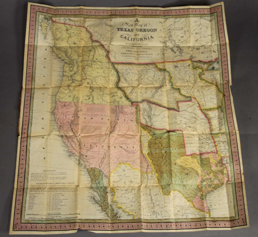 A New Map of Texas Oregon and California, 1846, pocket map with extensively detailed text booklet that includes commentary on the culture of the West, its tribes and settlers. Est. $4,000-$7,000. Waverly Rare Books image.