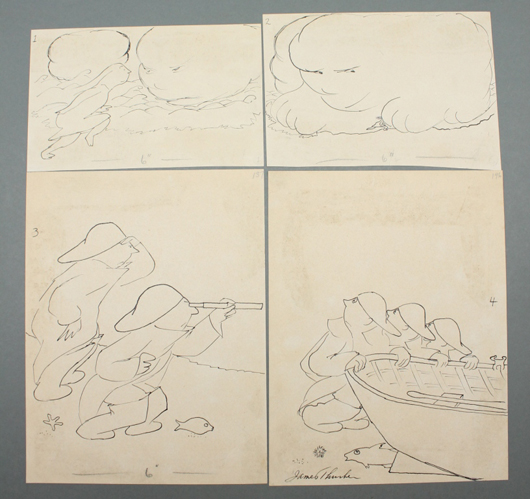 Four original, signed drawings by James Thurber (American, 1894-1961) that appeared in the March 25, 1939 issue of The New Yorker. Est. $4,000-$6,000. Waverly Rare Books image.