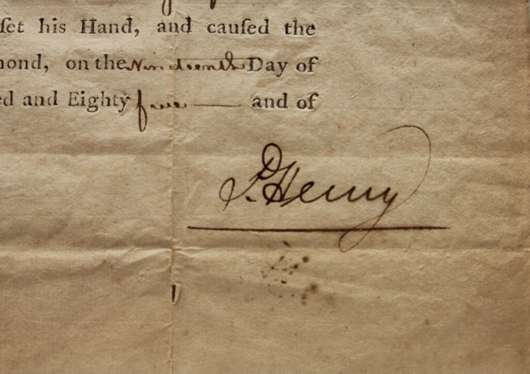 Close-up of signature from Nov. 19, 1785 land grant signed by Patrick Henry as governor of Virginia. Est. $600-$900. Waverly Rare Books image.