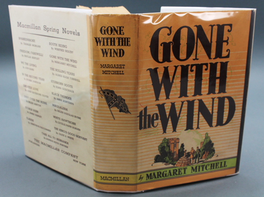 Margaret Mitchell, Gone with the Wind, May 1936, 1st printing with dust jacket. Est. $1,200-$1,800. Waverly Rare Books image.
