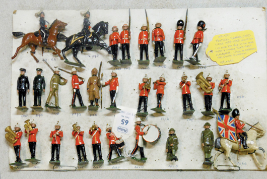 Britains original paint room sample cards. Old Toy Soldier Auctions image.