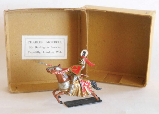 Courtenay tournament knight in original box. Old Toy Soldier Auctions image.
