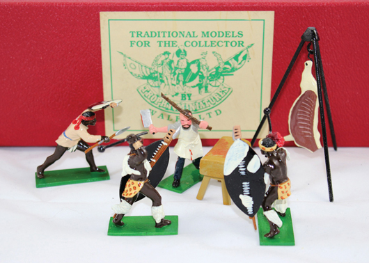 Trophy Zulu War figures. Old Toy Soldier Auctions image.