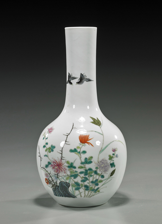 Old Chinese Famille Rose porcelain vase. I.M. Chait Gallery / Auctioneers image.