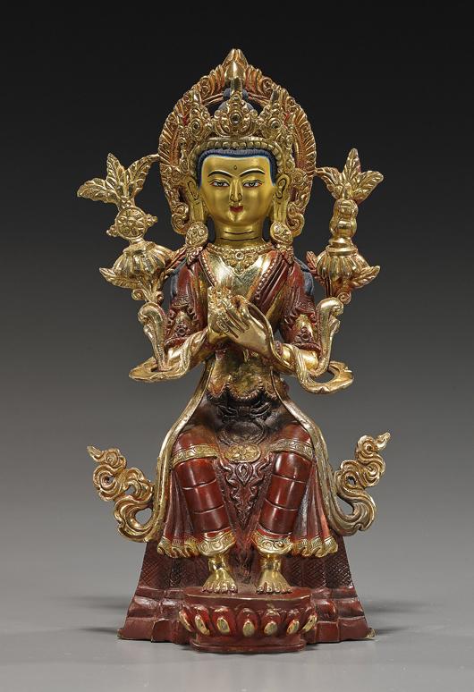 Nepalese or Tibetan bronze Buddha. I.M. Chait Gallery / Auctioneers image.