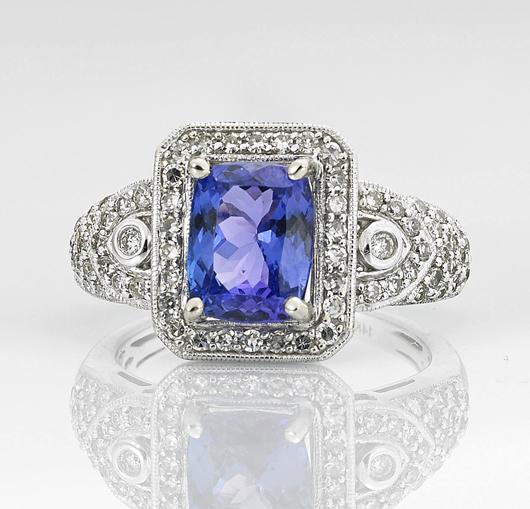 Ladies' 14K tanzanite and diamond ring. I.M. Chait Gallery / Auctioneers image.