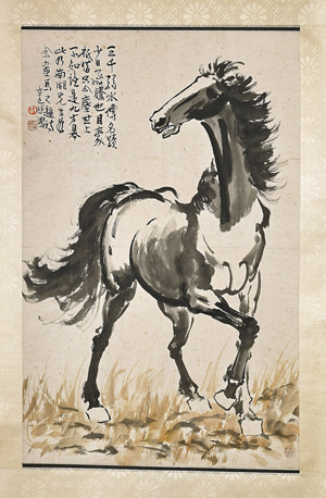 Two Chinese paper scrolls with horses. I.M. Chait Gallery / Auctioneers image.