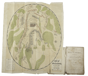 Rare Gettysburg battlefield map, T. Ditterline, 1863. Estimate: $6,000/8,000. Cowan's Auctions Inc. image.