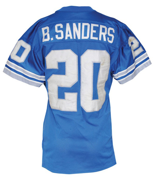 1995 Barry Sanders Detroit Lions game-used road jersey, $22,226. Grey Flannel Auctions image.