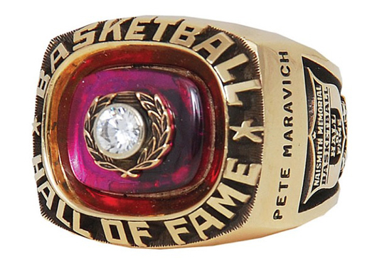 1987 'Pistol' Pete Maravich Hall of Fame Induction ring, $88,826. Grey Flannel Auctions image.
