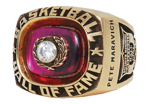 1987 'Pistol' Pete Maravich Hall of Fame Induction ring, $88,826. Grey Flannel Auctions image.1987 'Pistol' Pete Maravich Hall of Fame Induction ring, $88,826. Grey Flannel Auctions image.