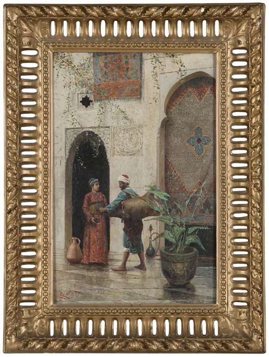 This oil by Italian Orientalist Alberto Fabbi (1858 -$1906), just one of the more than 50 paintings and prints offered at Moran's June 18 sale, carries an estimate of $6,000-$9,000. John Moran Auctioneers image.