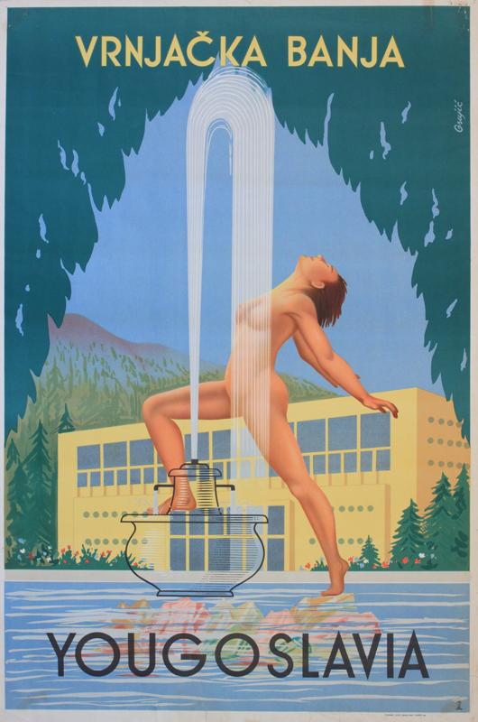 Grujic Yougoslavia, Vrnjacka Banja, original poster printed Zagreb, 1953, 98 x 66 cm. Estimate £200-250. Onslow Auctions Limited image.