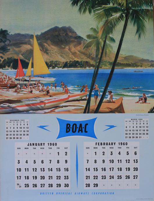 Wootton (Frank 1911-1998) BOAC calendar for 1960. Estimate: £70-100. Onslow Auctions Limited image.