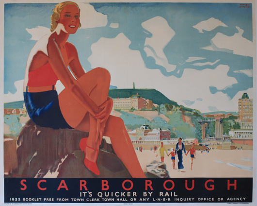 Andrew Johnson (fl. 1930s) 'Scarborough,' original poster printed for the LNER 1933, 102 x 125 cm. Estimate: £2,000-2,500. Onslow Auctions Limited image.