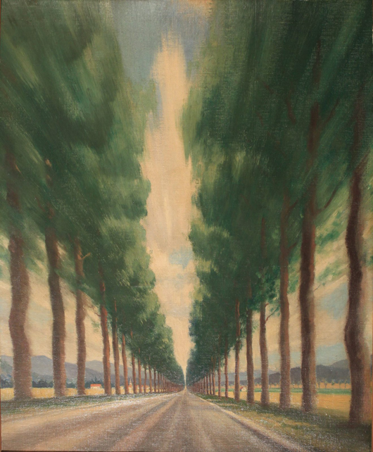 Anon (possibly Roy Nockolds 1911-1979) plane tree-lined French road, poster design, oil on canvas on board, 95 x 77 cm. Estimate: £700-1,000. Onslow Auctions Limited image.