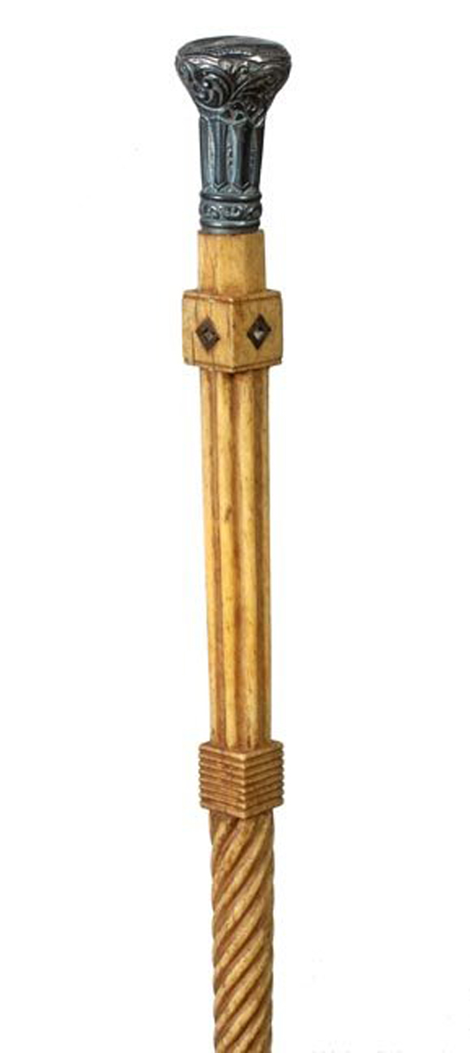 Hawaiian historical whalebone cane, est. $5,000-$7,000. Kimball M. Sterling image.
