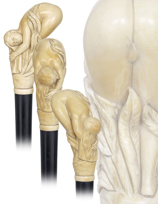 Museum-quality erotic ivory cane, est. $5,000-$7,000. Kimball M. Sterling image.