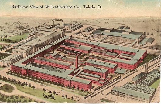 A postcard pictures the Willys-Overland Co. factory in Toledo, Ohio, circa 1915. Army jeeps were built there. Image courtesy of Wikimedia Commons.