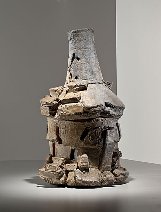 Carefully constructed to look like it might collapse, this stack pot titled 'Siguirilla' was made in 1999, late in Voulkos' career, and sold for $77,550 at Cowan's in November 2011. The name for the gravity-defying composition is taken from the vocabulary of flamenco guitar. Courtesy Cowan's+Clark+Delvecchio Auctions