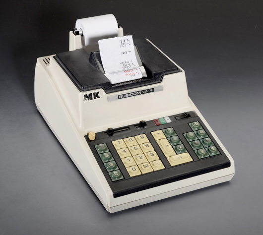 A pioneer electronic calculator containing the first commercial application of an Intel 4004 processor, the Busicom 141-PF of 1971, fetched 14,756 euros (US $19,200). Auction Team Breker image.