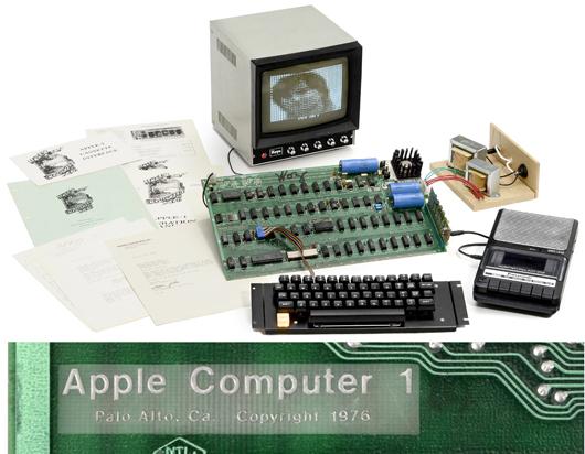 Designer Steve Wozniak signed this Apple 1 computer 'Woz.' The landmark computer set a record by selling for 516,461 euros (US $671,400). Auction Team Breker image.
