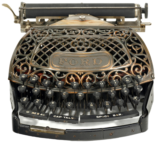 The elegant Ford typewriter, having a low serial number, sold for 22,776 euros (US $29,610). Auction Team Breker image.