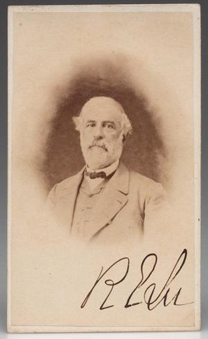 Unpublished CDV photograph of Robert E. Lee, verso with a revenue stamp bearing an inscribed 'White & Kelley, Lexington, Va., circa 1865. Estimate $10,000-$15,000. Jeffrey S. Evans & Associates image.