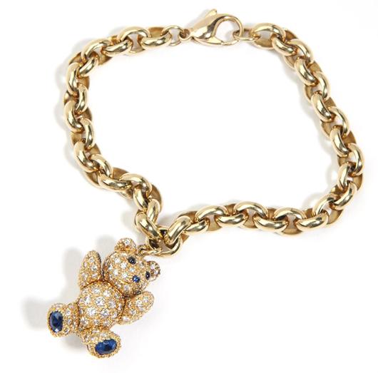 An adorable teddy bear charm bracelet at Moran's auction realized $7,200 (estimate: $3,000 - $5,000). John Moran Auctioneers image.