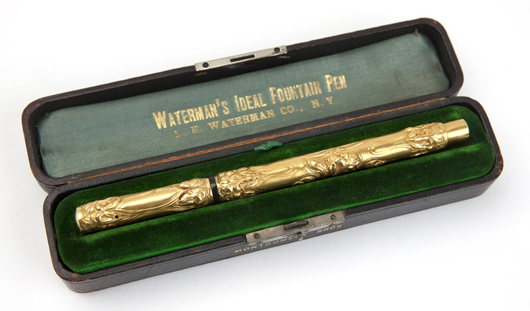 This Waterman #504 Ideal fountain pen in gold caused a sensation, realizing $15,600 (estimate: $200 - $400). John Moran Auctioneers image.