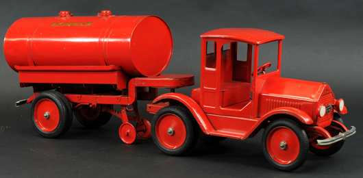 Sturditoy oil truck, pressed steel, circa 1929, 25in long, ex Palumbo and Kaufman collections, $15,340. Bertoia Auctions image.