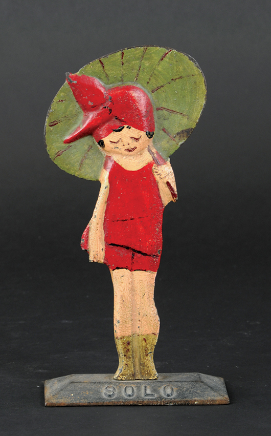 Girl with Umbrella figural cast-iron doorstop, only known example, $8,850. Bertoia Auctions image.